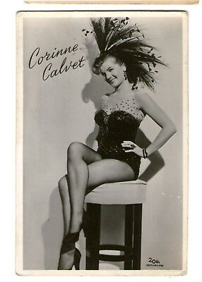 Corinne Calvet vint PINUP Leggy Dutch takken BW Photo Postcard