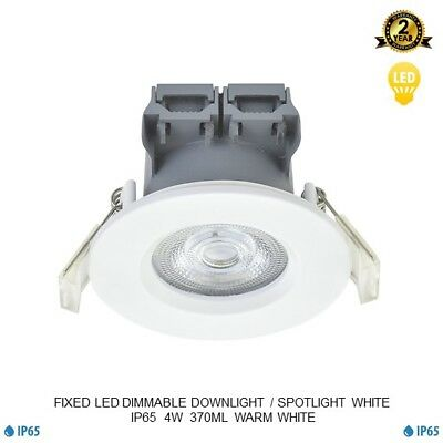 Fixed Led Recessed Downlight Spotlight Dimmable Ip65 White Gloss 4W
