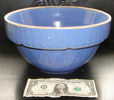 Large Antique Stoneware BLUE Clay City ? Picket Fence Mixing Bowl