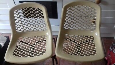 Vintage Retro Mid Century Stacking Chairs  A Pair with re seat covers