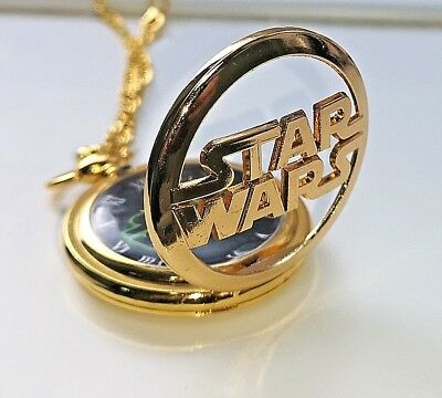 Star Wars Gold Pocket Watch Space Opera Antique Science Fiction Story Epic Retro