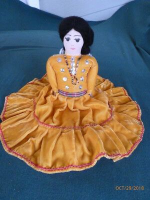 Lovely HAND MADE and SIGNED NAVAJO FABRIC/RAG DOLL in Traditional Dress