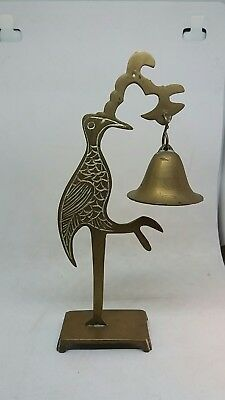 Unusual Vintage Antique Brass Bird Bell Ornament