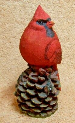 """RED CARDINAL on PINE CONE"" FIGURINE"
