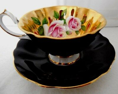 Queen Anne Cup & Saucer Pink Roses Gold Inside Black Outside England Bone China