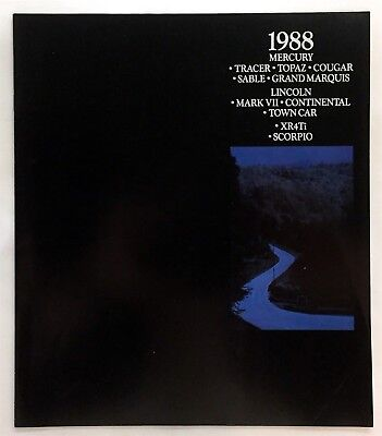 Car Auto Brochure 1988 Mercury All Models Cougar Lincoln Scorpio 16 Pages