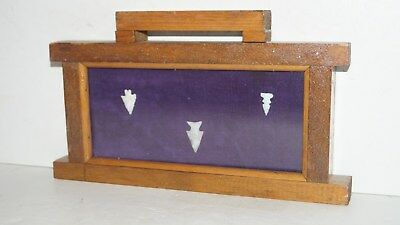 3 Native American Stone Artifact Arrowheads In Framed Hanging Wall Display