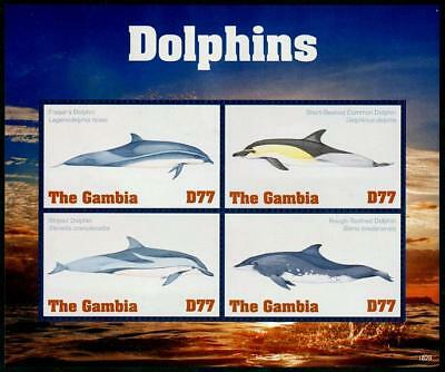 HERRICKSTAMP NEW ISSUES GAMBIA Dolphins Sheetlet of 4 Different