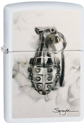 Zippo 29845, Spazuk-Diamond Studded Hand Grenade, White Matte Finish Lighter