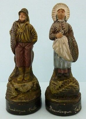 Antique Pottery Dunkerque Malo Figures Fisherman Woman Miniature Doll Pair Mint