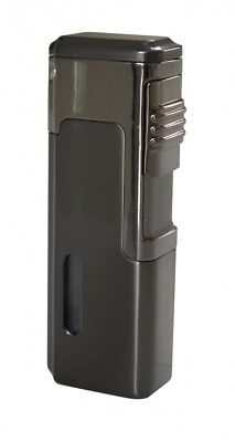 Eternity E2 Gunmetal Quad Jet Torch Cigar Lighter With Punch Cutter - Brand New