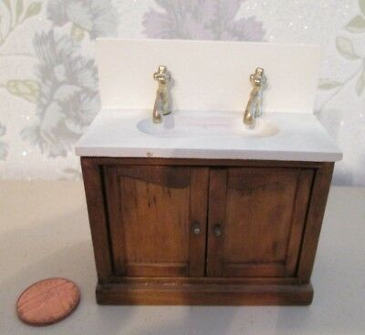 Dolls House Bathroom Sink Unit With Cupboard Underneath ,with Brass Type Taps
