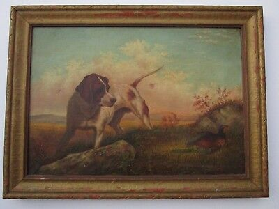 Painting Finest Howard Hill Antique  Landscape Dog Bird Listed American Art Old