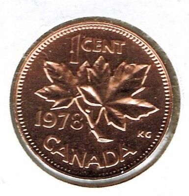 1978 Canadian Proof Like One Cent Elizabeth II Coin!