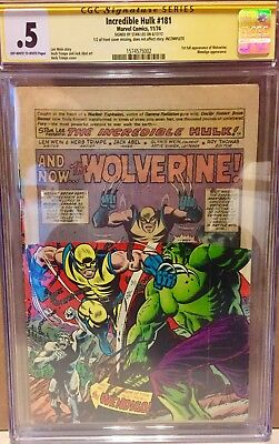 Incredible Hulk #181 1st Appearance Of Wolverine Signed Stan Lee CGC .5