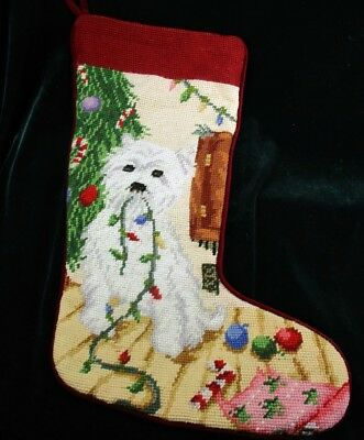 Westie Christmas Needlepoint Velvet Stocking String of Lights Dog