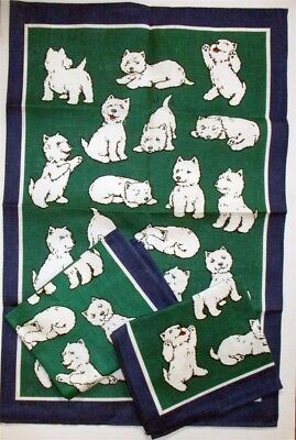 3 Westies Galore Tea Towels NOS West Highland White Terrier Ulster Weavers Linen