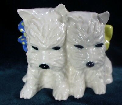 Westie Ceramic Arts Studio Madison Duo White Scottie Blue Yellow Bows Vntg 1950s