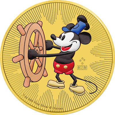 2017 Niue 2$ Steamboat Willie 1 Oz Mickey Mouse .999 Silver Gilded Colored Coin
