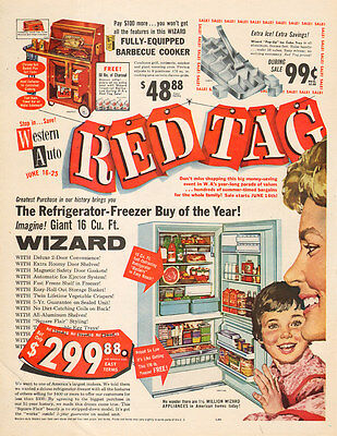 1960 vintage AD Western Auto RED TAG Sale Wizard Refrigerator more 122915