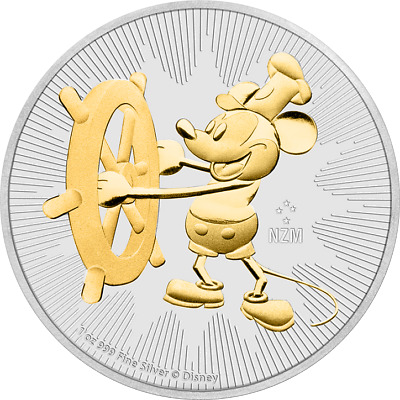 2017 Niue 2$ Steamboat Willie 1 Oz Mickey Mouse .999 Silver Gilded Coin