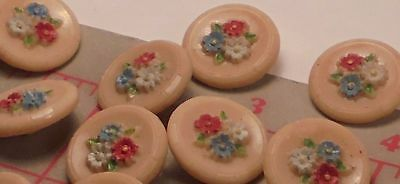 "3 Vintage Czech Glass Buttons Hand Painted Flowers Tan Multi Combo 11/16"" 18mm"