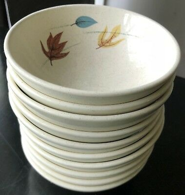 Vintage 50s Franciscanware Autumn Leaves Small Berry Bowls Mid Century Modern
