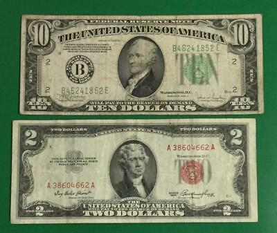 "1934C $10 Green Federal ""BIG B"" New YOrk X852 & 1953 $2 RED US Deuce! Currency"