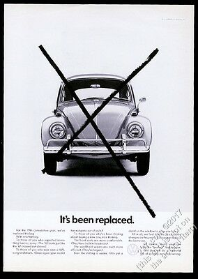 1968 VW Beetle classic car photo It's Been Replaced Volkswagen 11x8 print ad