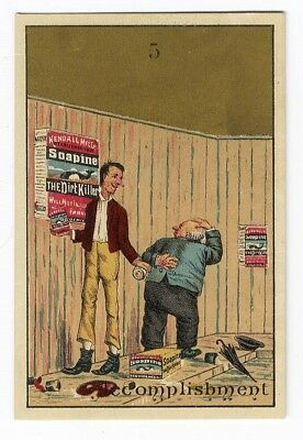 SOAPINE DIRT KILLER Victorian Trade Card No 6 Two Men Working 1880's SOAP