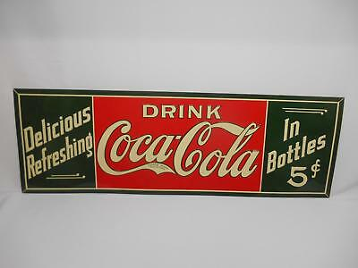 Old 1970's COCA-COLA METAL ADVERTISING SIGN Cooke Delicious Refreshing 5 Cents