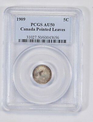 *** AU50 1909 Canada 5 Cents - Pointed Leaves - Graded PCGS - Graded Slabs *756