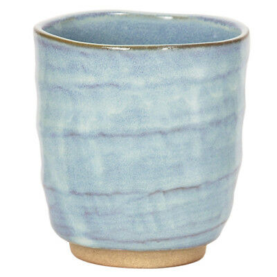 "Japanese 3.5""H Ceramic Sushi Tea Cup Light Blue/ Made in Japan"