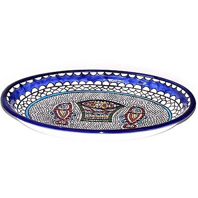 Armenian hand painted Fish and Bread Miracle serving oval ceramic bowl - extra