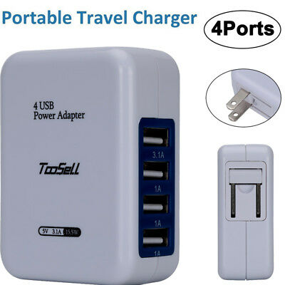 Fast 4 Port USB Home Travel Wall Charger AC Power Adapter 3.1A For Iphone Phone