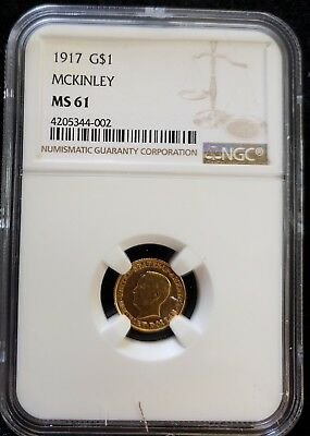 1917 $1 Gold Mckinley Commemorative Dollar  Unc  Ngc Certified Ms 61