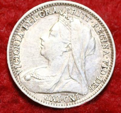 1896 Great Britain 3 Pence Silver Foreign Coin