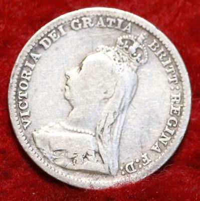 1892 Great Britain 3 Pence Silver Foreign Coin