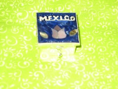 Pill Box Beautiful Abalone Shell Chips on Alpaca - Mexican Folk Art Xmas Gift