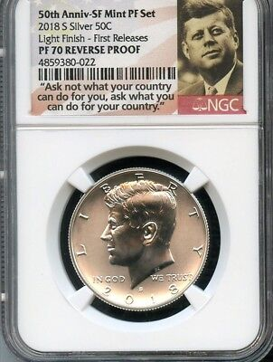 2018 S Silver Kennedy 50C 50TH ANN LABEL REVERSE PROOF LIGHT FINISH NGC PF70 FR,