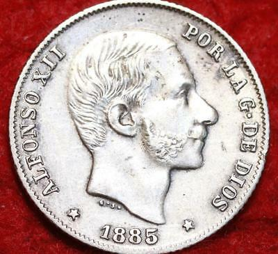 1885 Philippines 20 Centavos Silver Foreign Coin