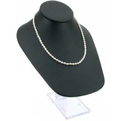 Black Faux Leather Necklace Bust Jewelry Display 10""