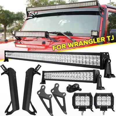 "52inch LED Light Bar +22"" +4"" 18W + Hood Mount Bracket Kit For Jeep Wrangler TJ"