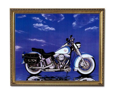 Harley Davidson Heritage Motorcycle Wall Picture Gold Framed Art Print