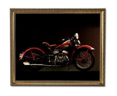 1940 Harley Davidson Motorcycle Wall Picture Gold Framed Art Print