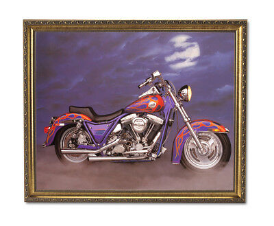 1986 Harley Davidson Motorcycle Wall Picture Gold Framed Art Print
