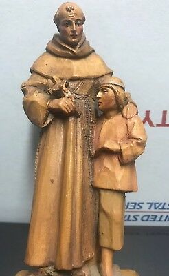 """Anri Kuolt 8"""" Vintage St.Francis of Assisi Whit A Boy Colored Carved Wood Rare"""