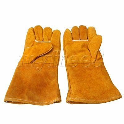 31.5x14cm Welding Leather Plus Gloves Heat Shield Cover Guard Safe Protection