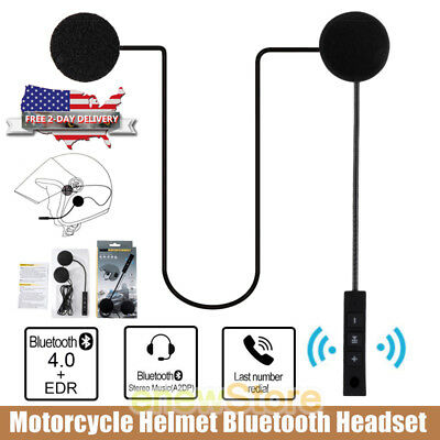 Rechargeable Motorcycle Helmet Headset Speaker Mic Bluetooth Handsfree Music NEW