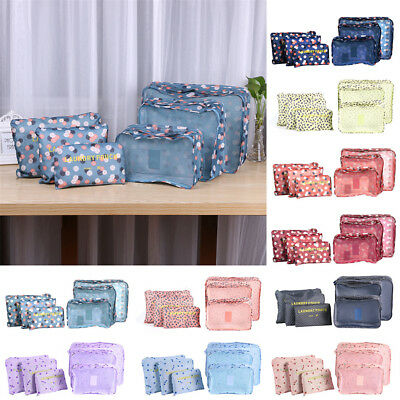 6pcs Packing Cubes Travel Pouches Luggage Organizer Clothes Suitcase Storage Bag